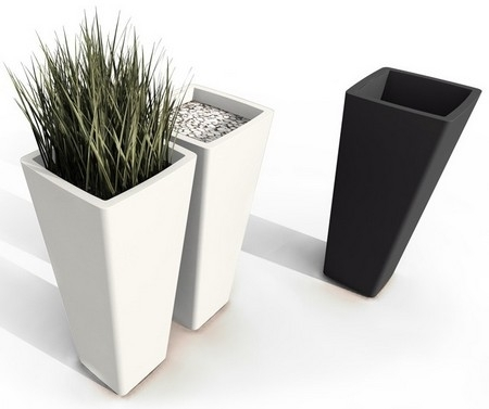 Pot de fleurs design all so quiet noir blanc paul qui for Pot de decoration interieur