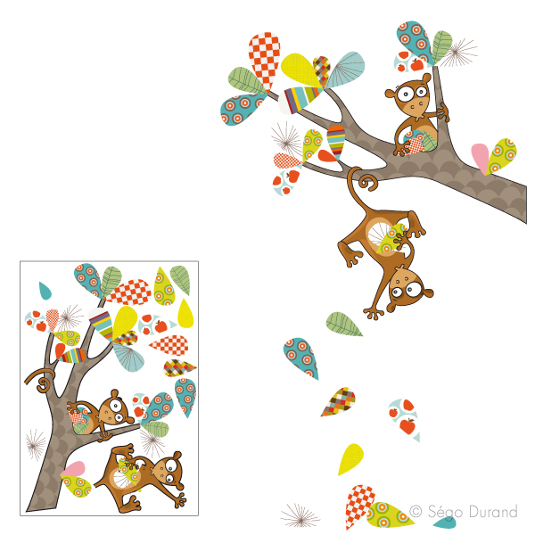Sticker mural les singeries de kiki stickers enfant for Stickers animaux chambre bebe