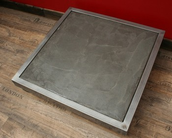 Table basse b ton m tal roulettes table basse design table basse b ton - Fabriquer une table en beton ...