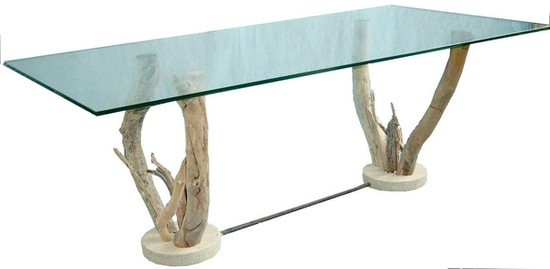 Table basse verre sur pieds bois flott table basse design for Table plateau tronc d arbre