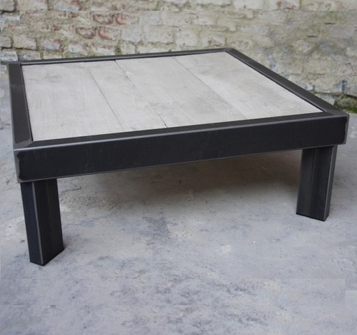 table basse bois metal sur pied table basse design. Black Bedroom Furniture Sets. Home Design Ideas