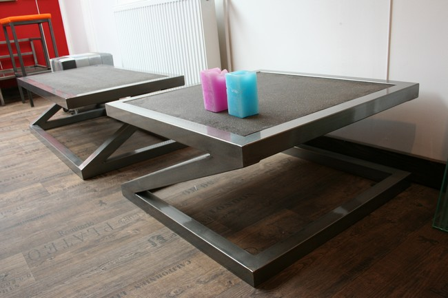 Table basse metal zed table basse design table de for Table basse aspect beton