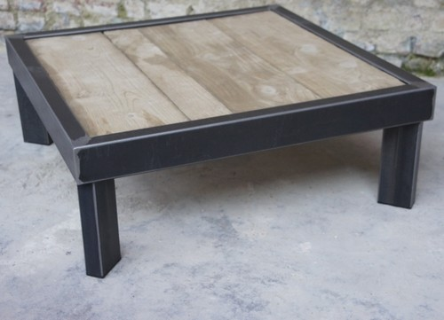 Table basse bois metal sur pied table basse design - Table salon metal ...