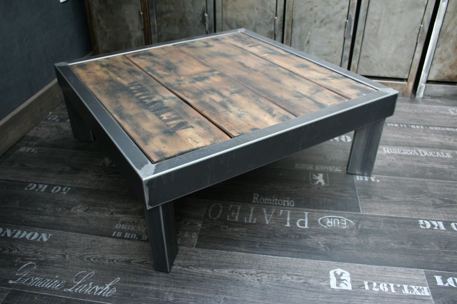 Table palette acier sur pieds table design table basse - Table basse palette design ...