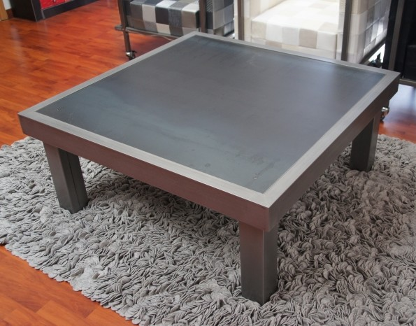 Table basse m tal brut et bross table basse design - Tables de salon design ...