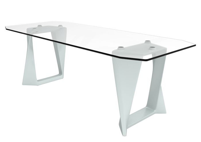 Table de jardin pieds blancs plateau verre table design for Table haute en verre
