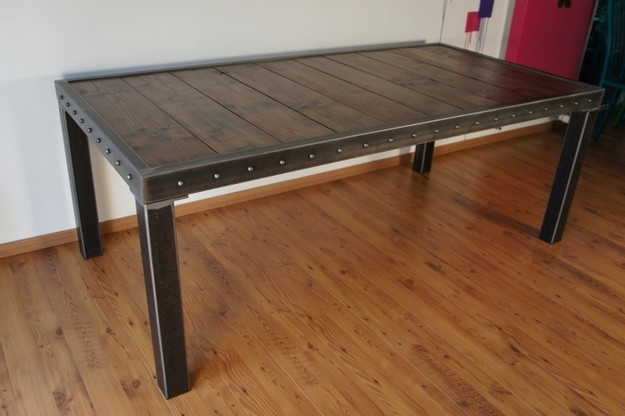 Table salle manger bois et pieds m tal table design made in france - Table salle a manger metal ...