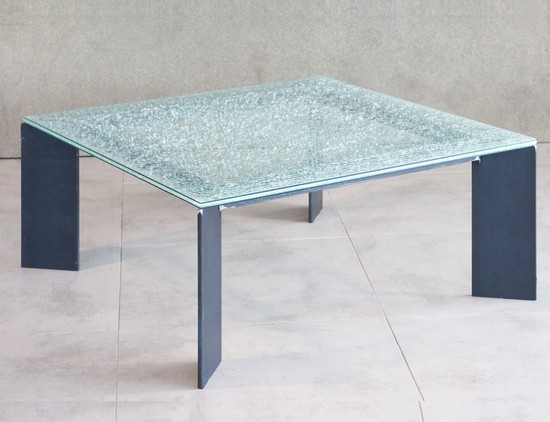 Table basse m tal et plateau verre table basse design for Table de television en verre