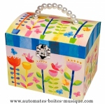 Musical jewelry boxes with a bunch of flowers