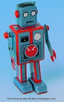Mechanical vintage Tin Toy robots made of metal (steel)