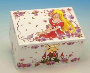 Fairytale musical jewelry box made of wood with traditional 18 note musical mechanism - Item # for this fairytale musical jewelry box : 28106