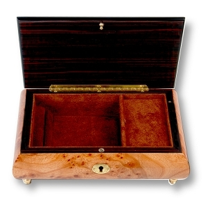 Lutèce Créations musical jewelry box made of wood with traditional 18 note musical mechanism - Item # for this Lutèce Créations musical jewelry box : FL.18.7004