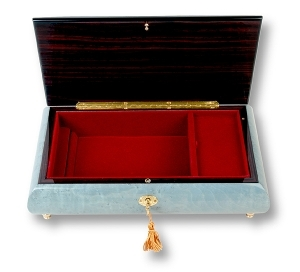 Lutèce Créations musical jewelry box made of wood with traditional 18 note musical mechanism - Item # for this Lutèce Créations musical jewelry box : IM.18.8002