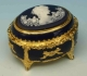 Music box made of metal and porcelain with porcelain inlay and traditional 18 note musical mechanism - Item # for this music box made of porcelain and metal : 23854