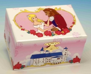 Fairytale musical jewelry box made of wood with traditional 18 note musical mechanism - Item # for this fairytale musical jewelry box : 28104