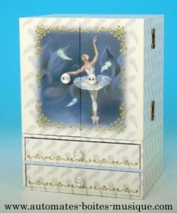 Musical jewelry box wardrobe with dancing ballerina and traditional 18 note musical mechanism - Item # for this musical jewelry box wardrobe : 22102