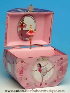 Musical jewelry box made of wood with dancing ballerina and traditional 18 note musical mechanism - Item # for this musical jewelry box: 28021