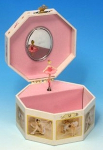 Musical jewelry box made of wood with dancing ballerina and traditional 18 note musical mechanism - Item # for this musical jewelry box : 28002