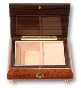 Lutèce Créations musical jewelry box made of wood with traditional 18 note musical mechanism - Item # for this Lutèce Créations musical jewelry box : COR.18.60.001