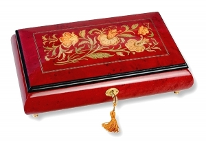 Lutèce Créations musical jewelry box made of wood with traditional 18 note musical mechanism - Item # for this Lutèce Créations musical jewelry box : FL.18.8003