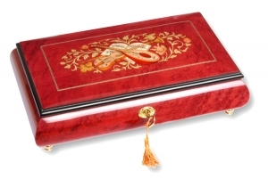 Lutèce Créations musical jewelry box made of wood with traditional 18 note musical mechanism - Item # for this Lutèce Créations musical jewelry box : IM.18.8003