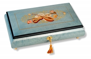 Lutèce Créations musical jewelry box made of wood with traditional 18 note musical mechanism - Item # for this Lutèce Créations musical jewelry box : IM.18.8004