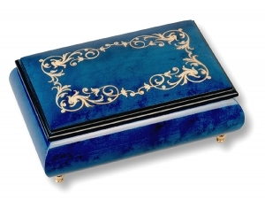 Lutèce Créations musical jewelry box made of wood with traditional 18 note musical mechanism - Item # for this Lutèce Créations musical jewelry box : AR.18.1602