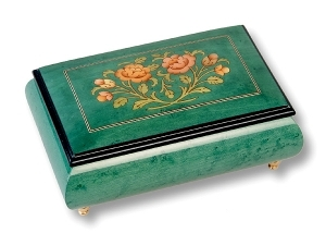 Lutèce Créations musical jewelry box made of wood with traditional 18 note musical mechanism - Item # for this Lutèce Créations musical jewelry box : FL.18.1601