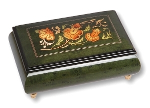 Lutèce Créations musical jewelry box made of wood with traditional 18 note musical mechanism - Item # for this Lutèce Créations musical jewelry box : FL.18.1606
