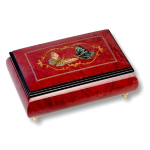 Lutèce Créations musical jewelry box made of wood with traditional 18 note musical mechanism - Item # for this Lutèce Créations musical jewelry box : PA.18.1603