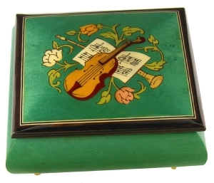 Lutèce Créations music box made of maple wood with musical instruments inlay and traditional 18 note musical mechanism - Item # for this Lutèce Créations music box : IM.18.4001
