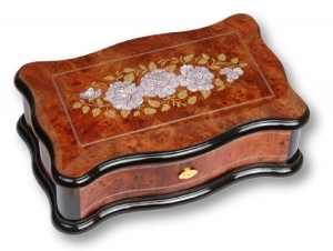 Lutèce créations music box made of elm wood and mother of pearl with flower inlay and traditional 50 note musical mechanism - Item # for this Lutèce Créations music box : ROS.50.00