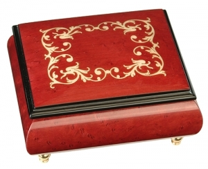 Musical ring box made in France by Lutèce Créations with traditional 18 note musical mechanism - Item # for this Lutèce Créations musical ring box : AR.18.4103