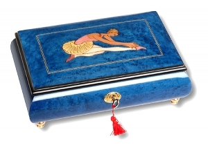 Lutèce Créations musical jewelry box made of wood with traditional 18 note musical mechanism - Item # for this Lutèce Créations musical jewelry box : BA.18.7002