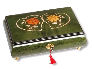 Lutèce Créations musical jewelry box made of wood with traditional 18 note musical mechanism - Item # for this Lutèce Créations musical jewelry box : CO.18.7006