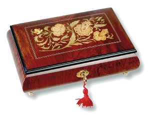 Lutèce Créations musical jewelry box made of wood with traditional 18 note musical mechanism - Item # for this Lutèce Créations musical jewelry box : FL.18.7000