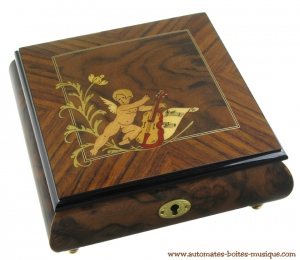 Lutèce Créations musical jewelry box made of wood with traditional 30 note musical mechanism - Item # for this Lutèce Créations musical jewelry box : AN.30.5100
