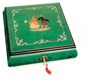Lutèce Créations musical jewelry box made of wood with traditional 18 note musical mechanism - Item # for this Lutèce Créations musical jewelry box : DA.18.5101