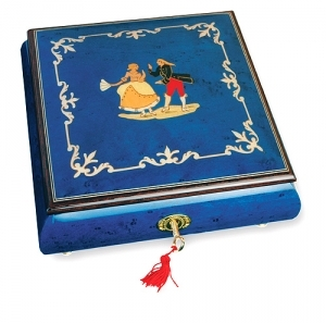Lutèce Créations musical jewelry box made of wood with traditional 30 note musical mechanism - Item # for this Lutèce Créations musical jewelry box : DA.30.5102