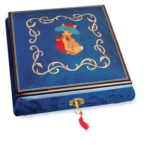 Lutèce Créations musical jewelry box made of wood with traditional 18 note musical mechanism - Item # for this Lutèce Créations musical jewelry box : LA.18.5102