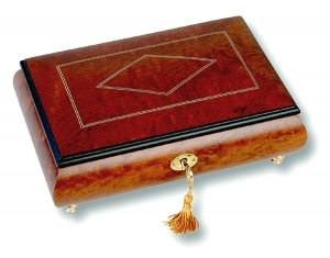 Lutèce Créations musical jewelry box made of wood with traditional 30 note musical mechanism - Item # for this Lutèce Créations musical jewelry box : LO.30.7000