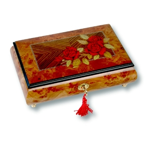 Lutèce Créations musical jewelry box made of wood with traditional 30 note musical mechanism - Item # for this Lutèce Créations musical jewelry box : ROS.30.7000