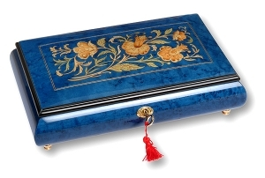 Lutèce Créations musical jewelry box made of wood with traditional 30 note musical mechanism - Item # for this Lutèce Créations musical jewelry box : FL.30.8002