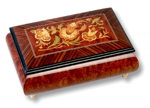 Lutèce Créations musical jewelry box made of wood with traditional 18 note musical mechanism - Item # for this Lutèce Créations musical jewelry box : FL.18.1600