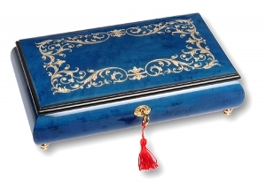 Lutèce Créations musical jewelry box made of wood with traditional 18 note musical mechanism - Item # for this Lutèce Créations musical jewelry box : AR.18.8002