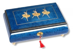 Lutèce Créations musical jewelry box made of wood with traditional 30 note musical mechanism - Item # for this Lutèce Créations musical jewelry box : BAS.30.7002