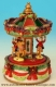 Christmas miniature musical carousel made of resin with traditional 18 note musical mechanism - Item # for this Christmas miniature musical carousel: 48036