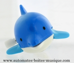 Swimming and mechanical automaton : dolphin made of plastic with winding key - Item# for this swimming and mechanical automaton : AAN-02