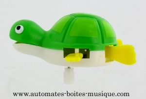 Swimming and mechanical automaton : turtoise made of plastic with winding key - Item# for this swimming and mechanical automaton : AAN-03