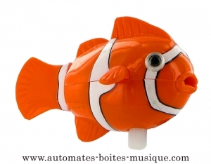 Swimming and mechanical automaton : fish made of plastic with winding key (Nemo the clownfish) - Item# for this swimming and mechanical fish automaton : 994